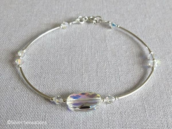 Elegant Bridal Bangle Bracelet With Rainbow Swarovski Crystals & Sterling Silver | Silver Sensations
